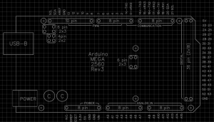 Arduino MEGA 2560 Rev3 shield build template