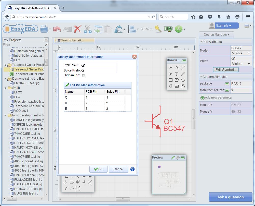 Forum Easyeda An Easier Electronic Circuit Design Experience Relay Using Bc547 Editing Pin Ordering Edit Symbol