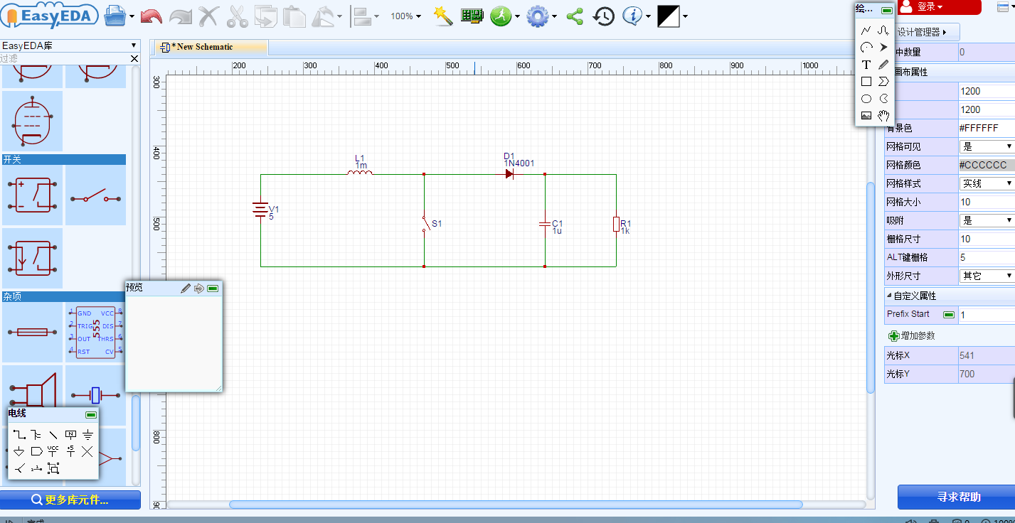 Attempt To Build Circuit With The Easyeda Tools