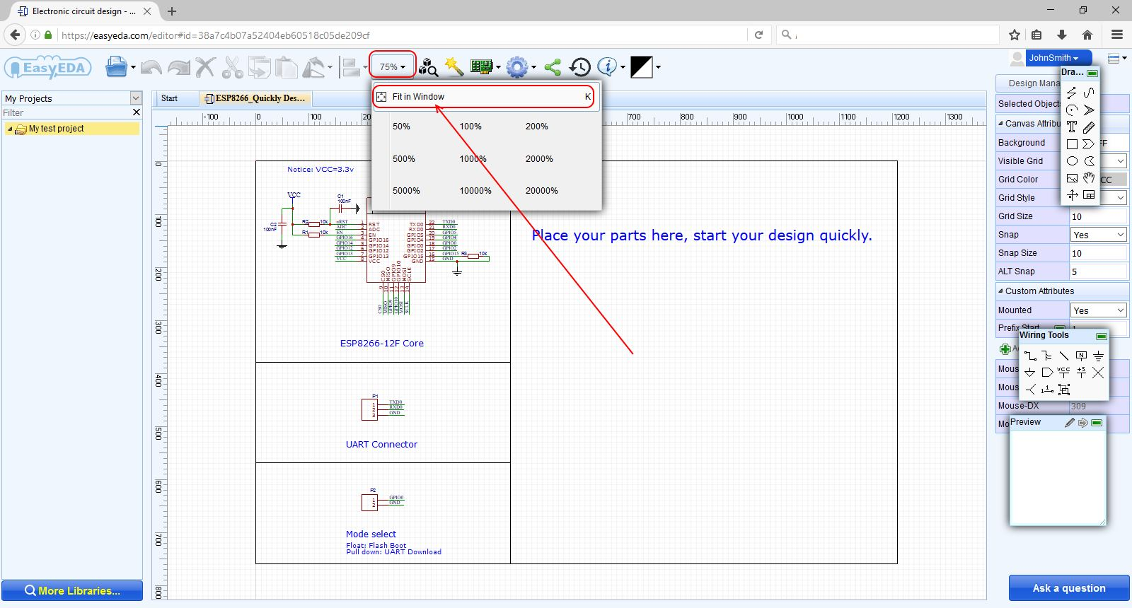 How To Make A Simple Circuit For Beginners Easyeda Free Online Library On Electronics Schematic Diagrams Easyeda11 Zoom