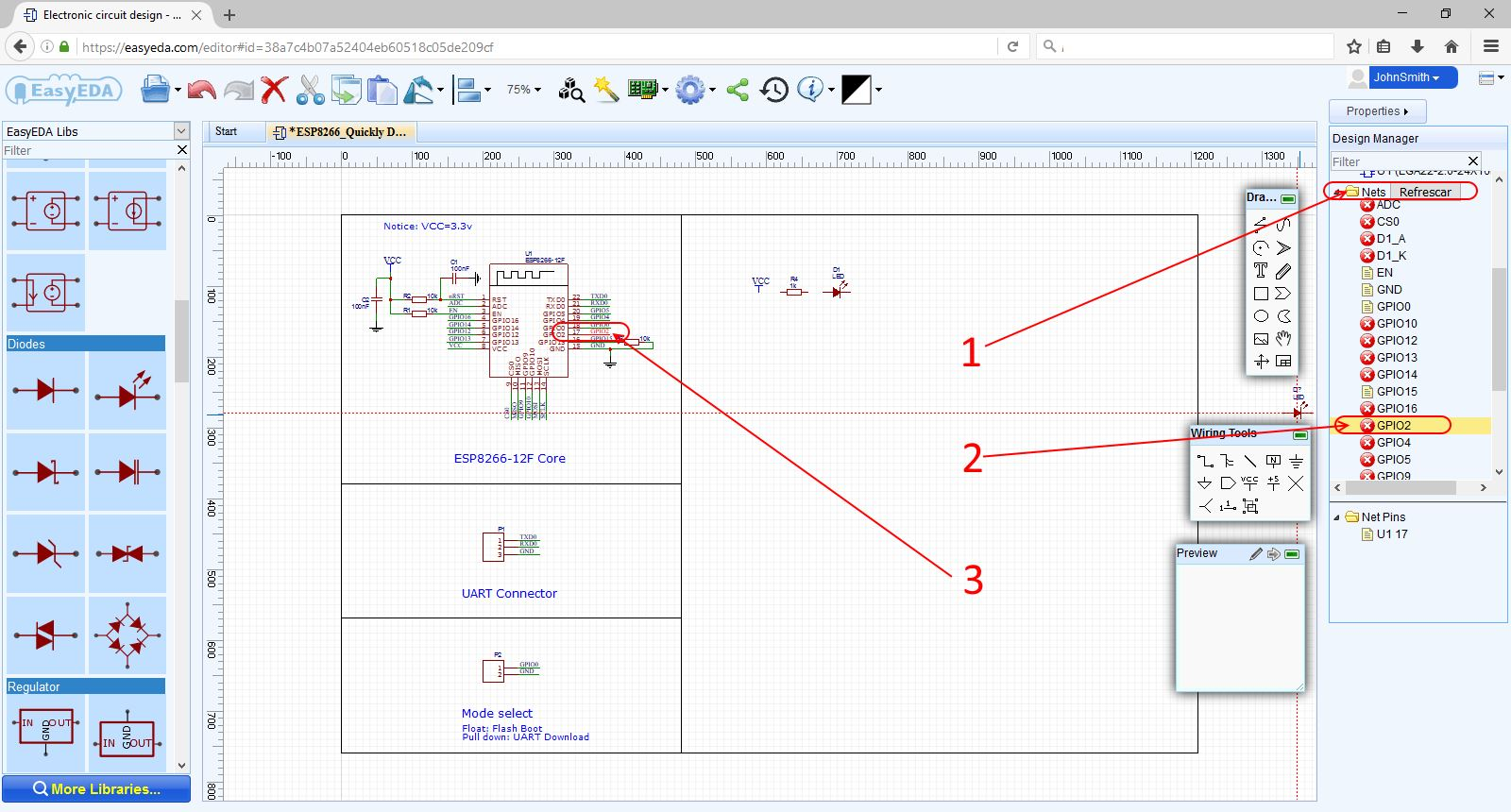 How To Make A Simple Circuit For Beginners Easyeda Software Electronic Design Easyeda17 Selectnet