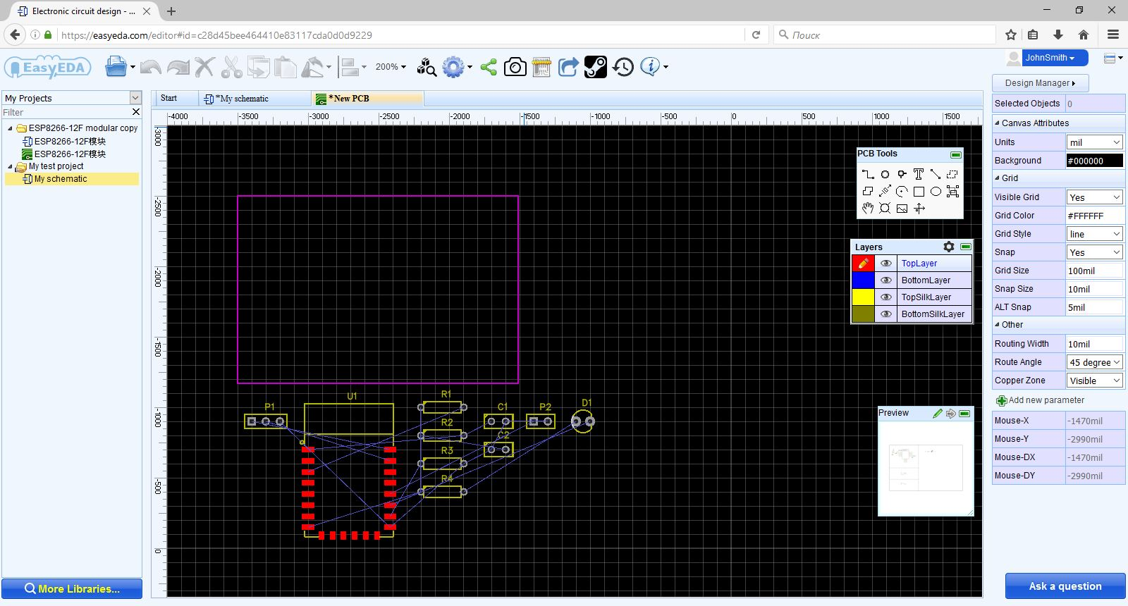 How To Make A Simple Circuit For Beginners Easyeda Led Characteristics Public Online Simulator Layout Printed Boards