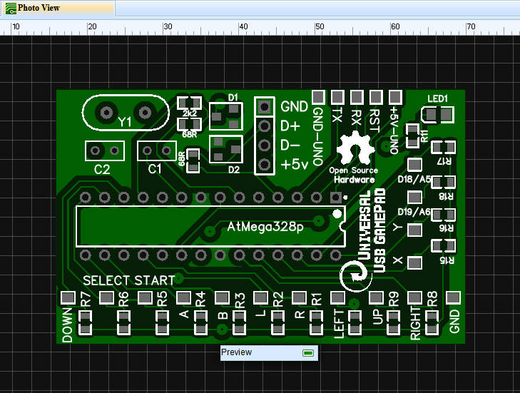 Universal USB HID GamePad/Keyboard - EasyEDA