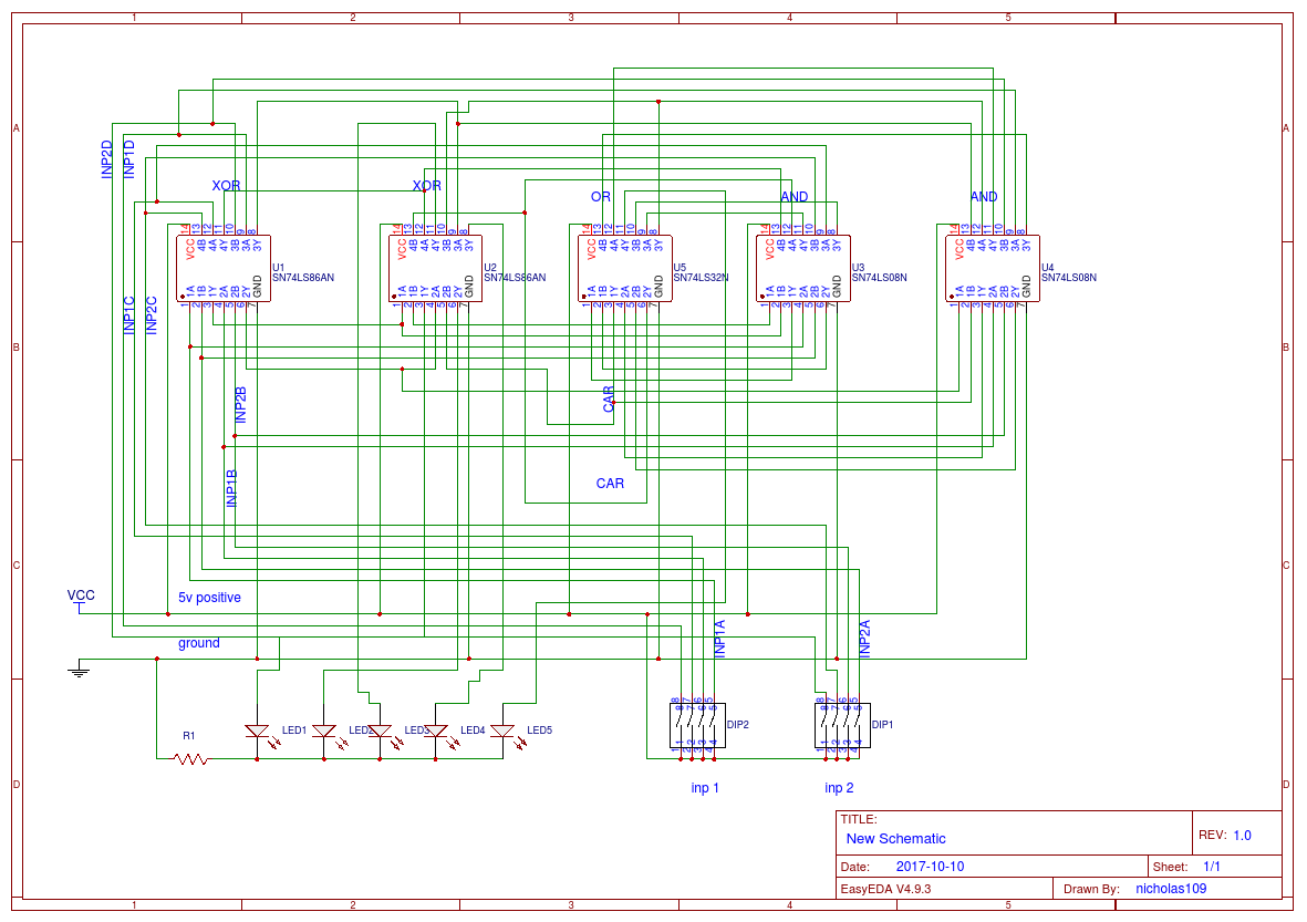 4 bit adder - EasA  Bit Adder Schematic on