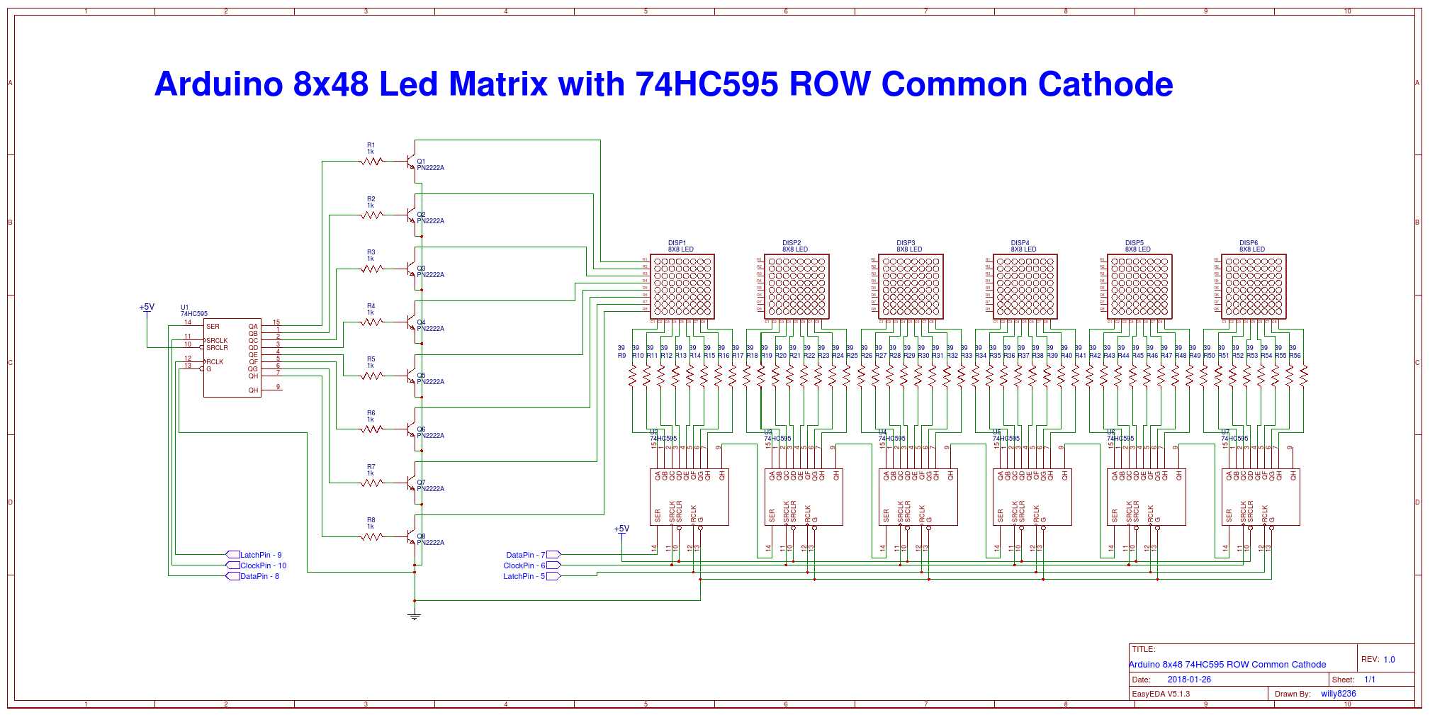 Schematic 8x8 Led Matrix 74hc595 Wire Center Video Inverter Circuit Diagram Tradeoficcom 8x48 Easyeda Rh Com Arduino With Resister