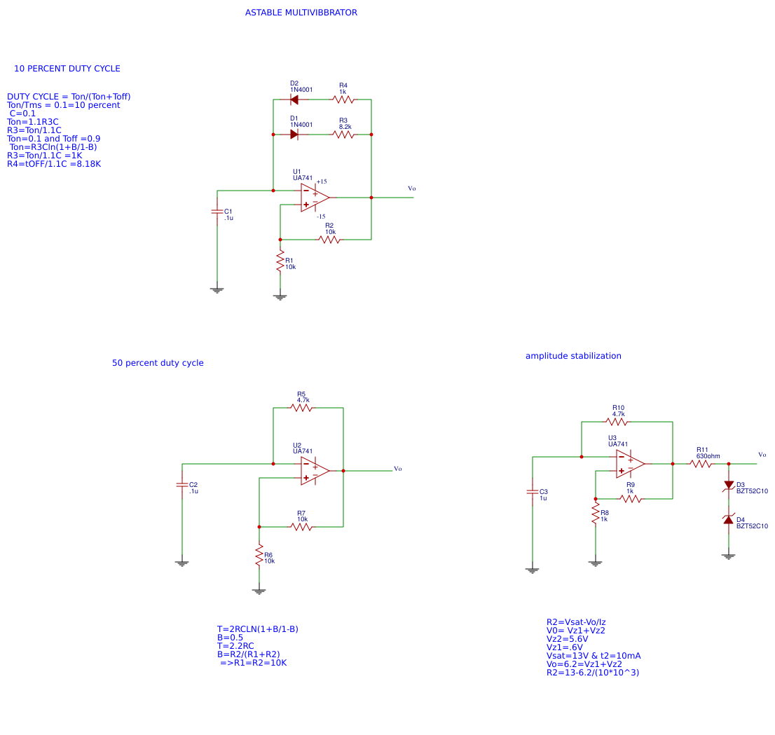 Experiments With Op Amp Easyeda Astable Multivibrator Circuit