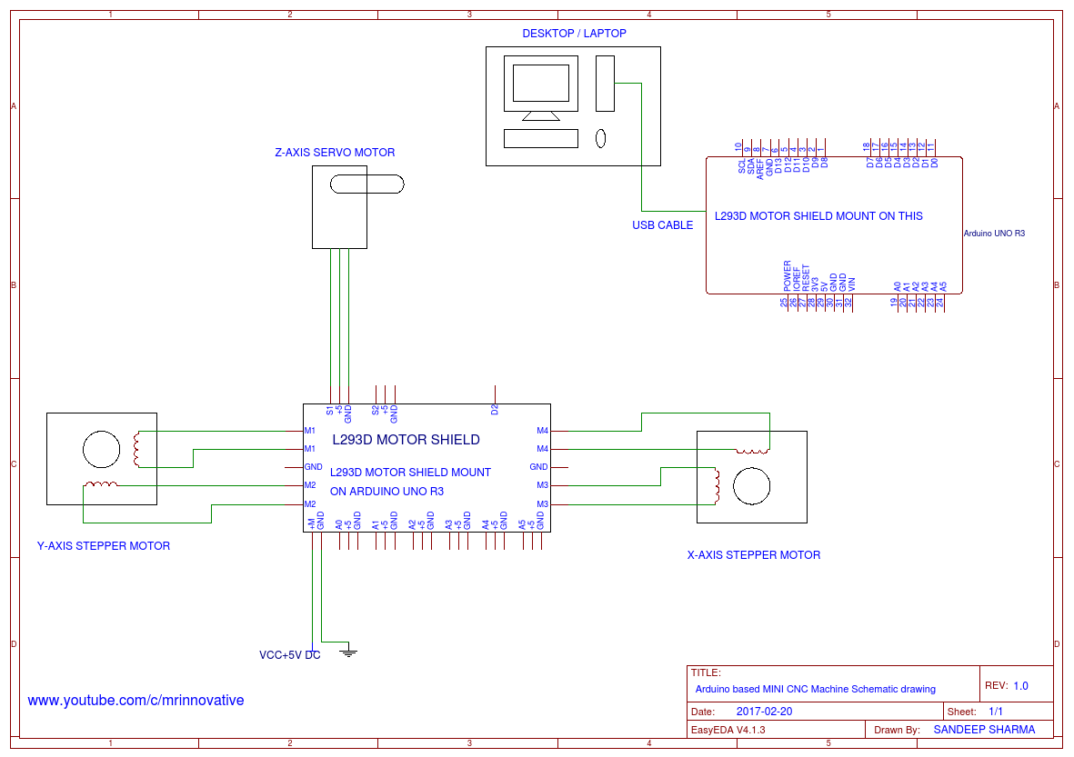 Arduino based MINI CNC Machine Schematic drawing - EasyEDA