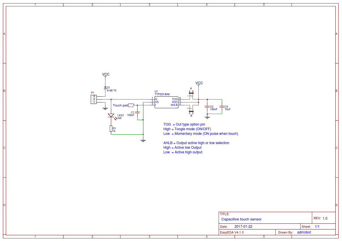 Capacitive Touch Sensor Easyeda How To Build Simple Circuit Diagram Open In Editor