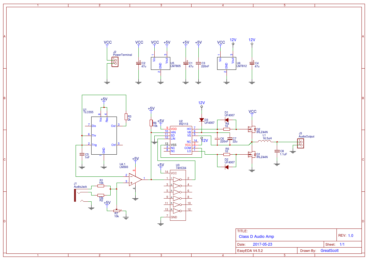 Class D Audio Amp Wiring Diagrams Amplifier Circuit Tpa3116d2 Tpa3118d2 Subwoofer From Great Scott Channel Easyeda