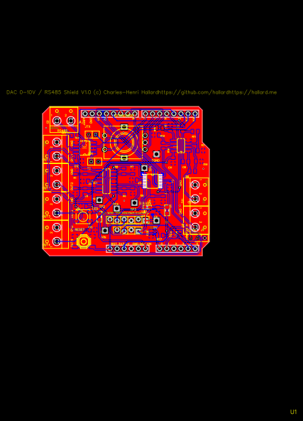 DAC / RS485 and OLED Arduino Shield - EasyEDA