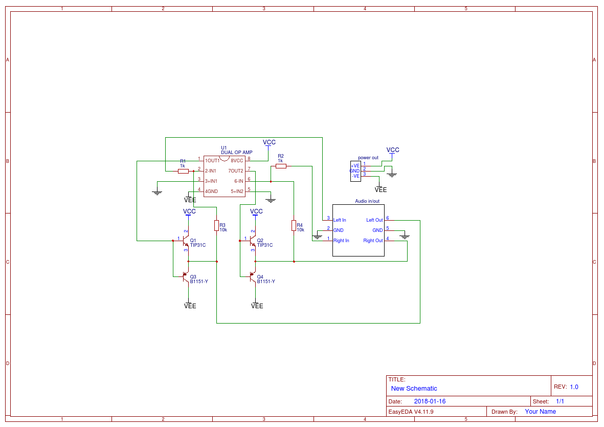 Diy Amp With Scrap Parts Easyeda Operational Amplifier Schematic