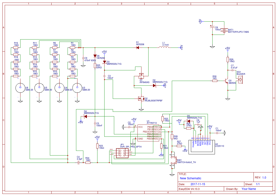 Geiger Counter Easyeda Circuit Schematic With 4xsbm 20 And Nokia3310 Lcd