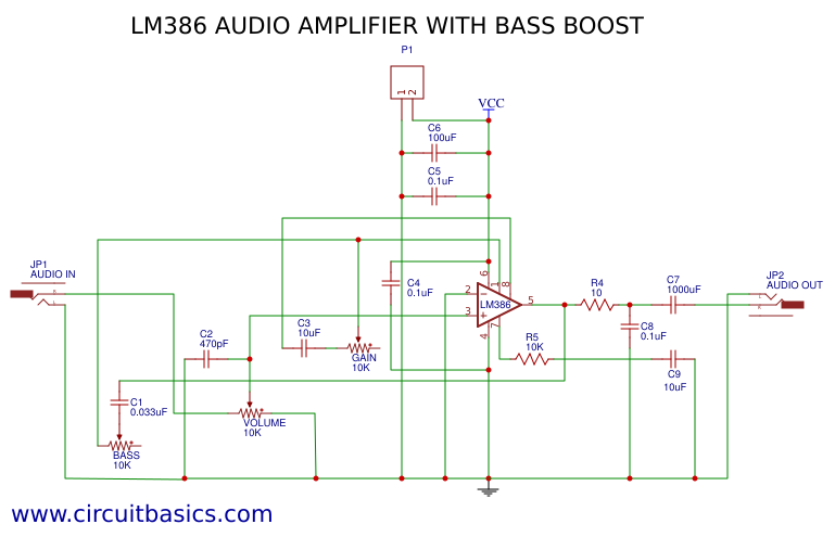LM386 Audio Amplifier With Bass Boost - EasyEDA