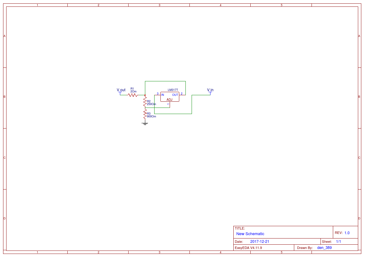 Lm317t Regulator Circuit And Voltage Easyeda Lm317 Calculator Electronic Circuits Schematics Lm 317t