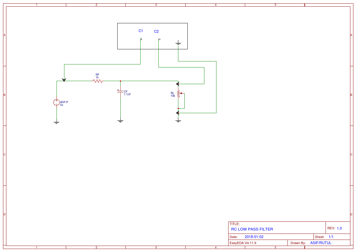 Rc Low Pass Filter Easyeda Schematic Diagram