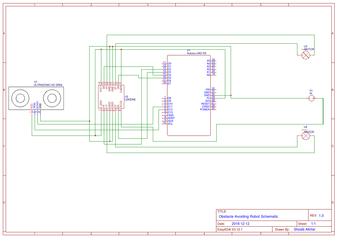 Obstacle Avoiding Robot schematic - EasyEDA