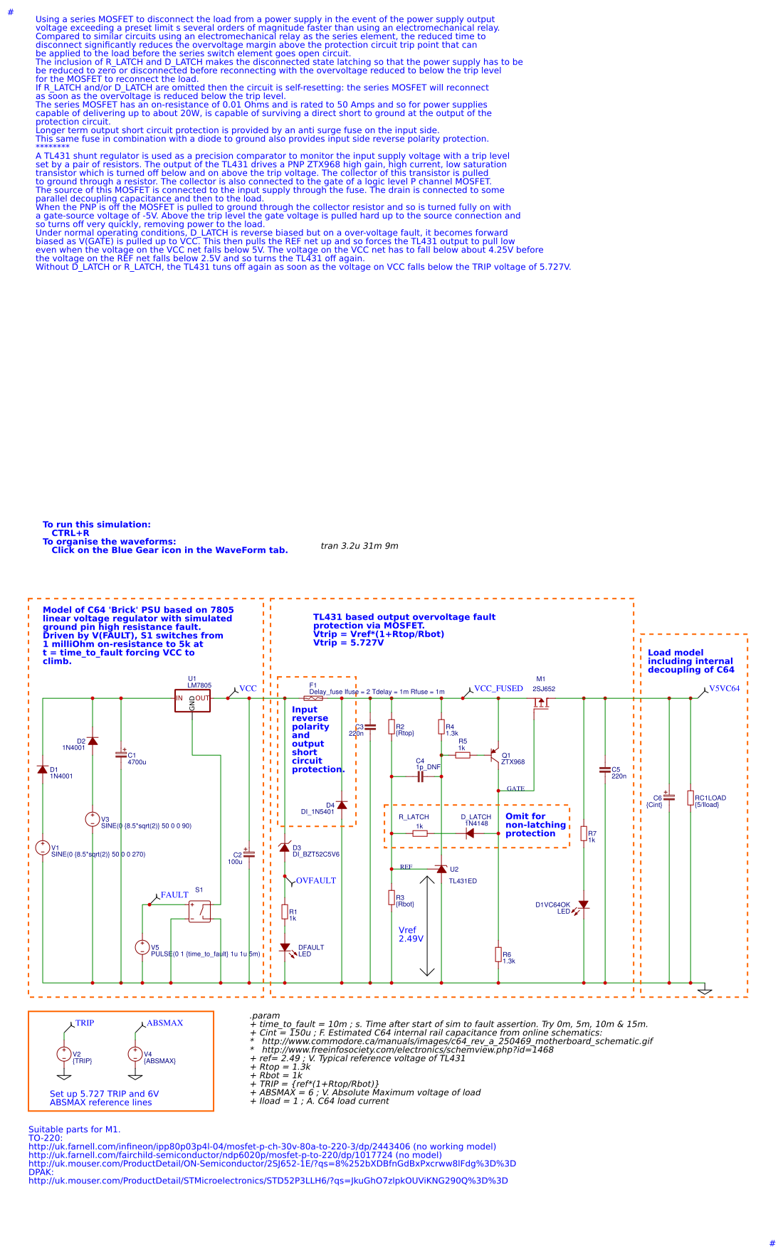 7805 Pin Configuration And Voltage Regulator Circuit Mosfet Series Disconnect Overvoltage Protector Easyeda Precision Protection Simulation Schematic