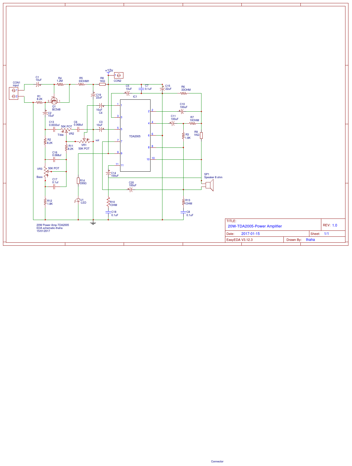 Audio Power Amp Easyeda Tda2005 Amplifier Circuit Diagram Electronic Project Apwr Smd