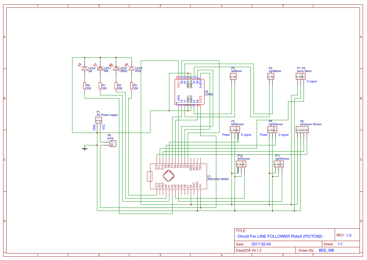 Diy Line Follower Robot Easyeda Block Diagram Indicating All Steps For Driving A Robotic Mechanism The Schematic 2