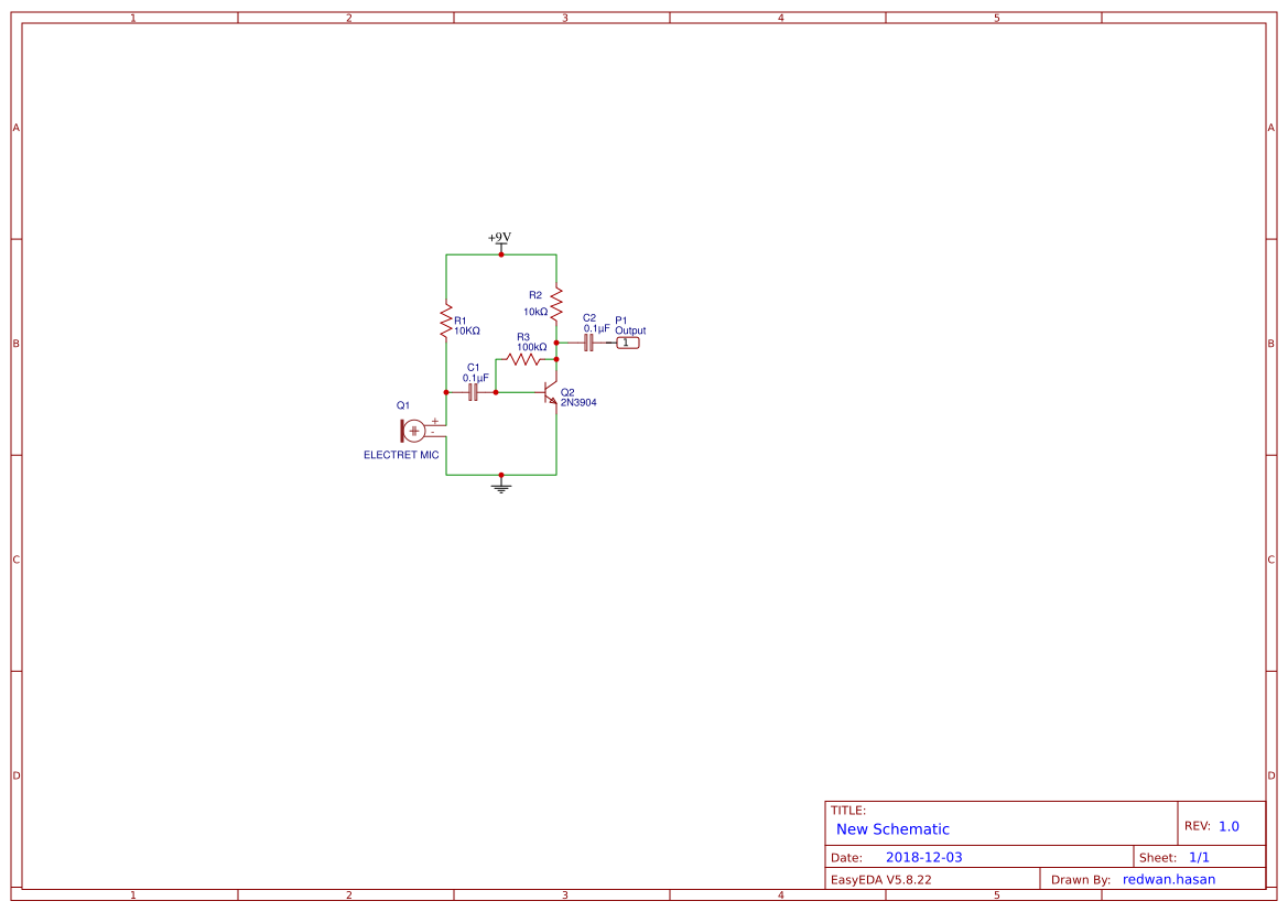 Electret Microphone Preamplifier 1 Transistor Simple Schematic