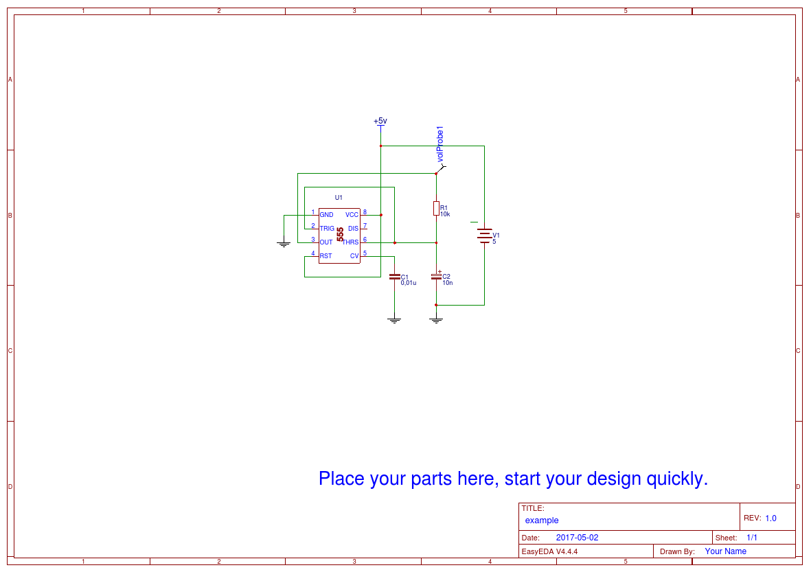 555 Timer Circuits And Applications Easyeda Circuit Diagram Example