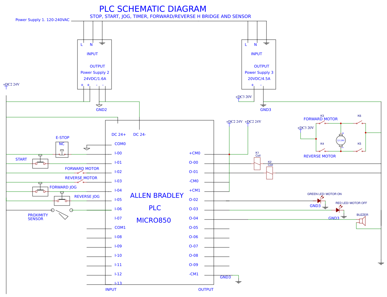 control wiring diagram of plc ladder logic - easyeda
