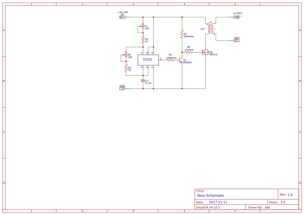 Efficient Flyback Driver High Volts Circuit Using Ic555 Easyeda Ic 555 Diagram Simple Sch