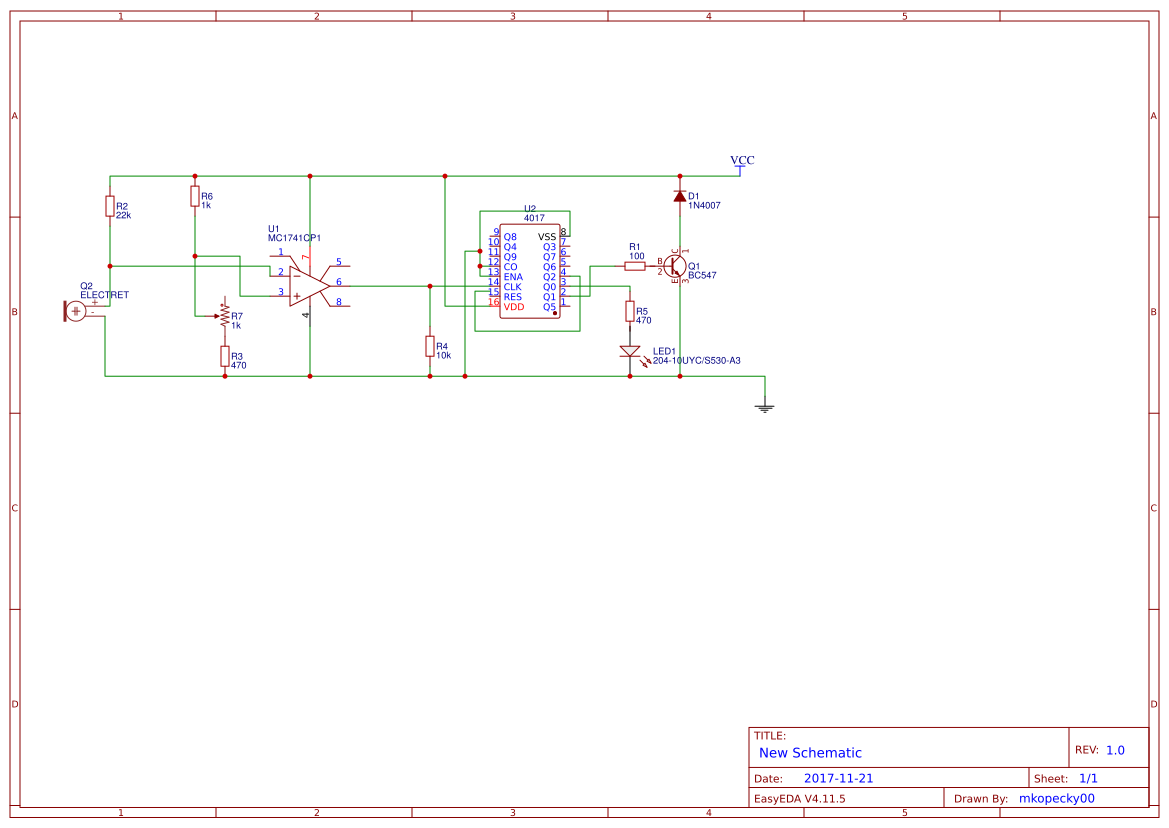 Led Chaser Circuit Using Cd4017 And 555 Search Easyeda Diagram
