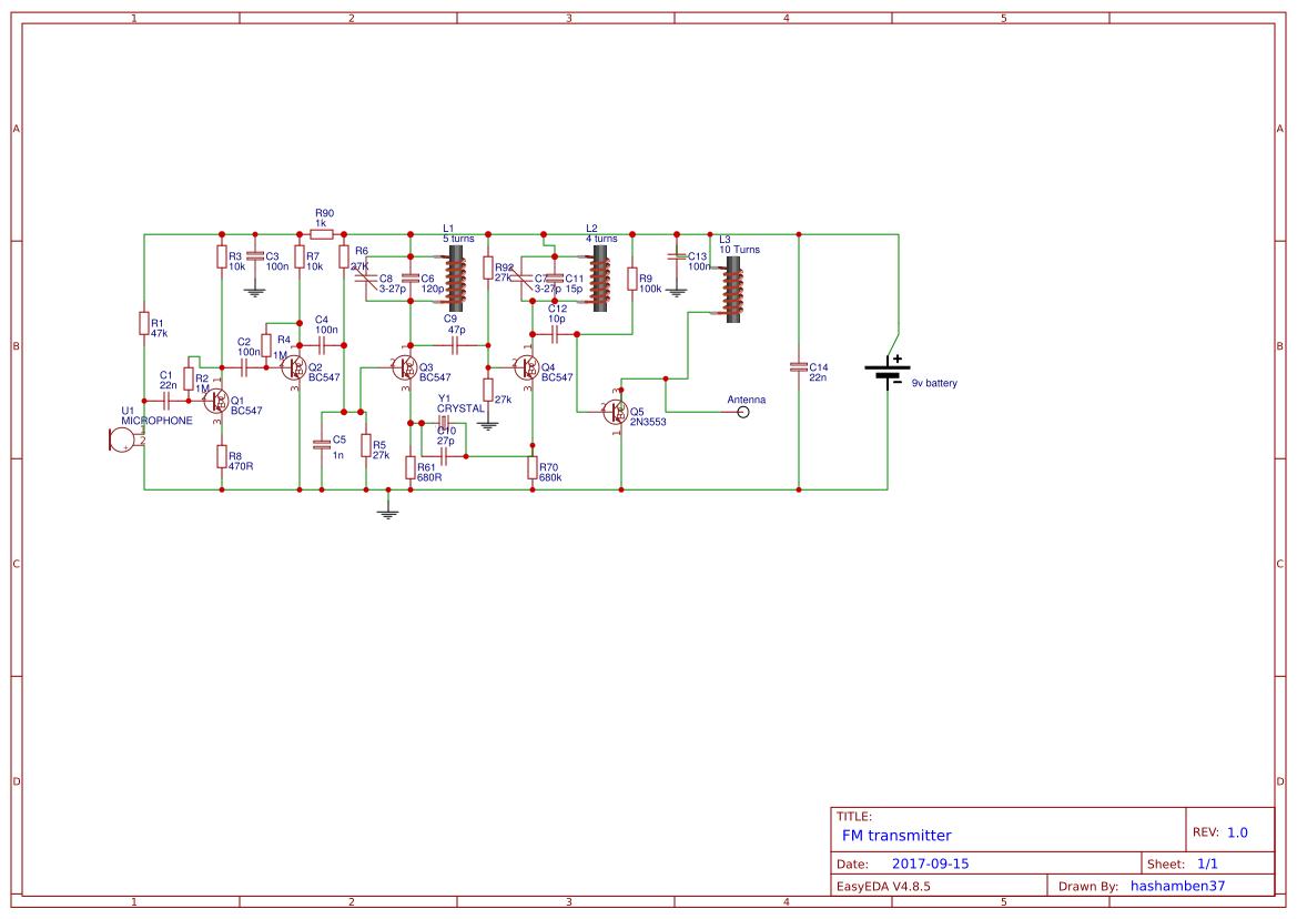 Crystal Fm Transmitter Easyeda Circuit Diagram