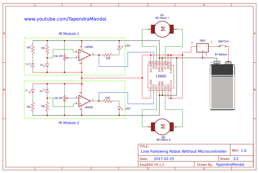 line follower robot without microcontroller search easyeda rh easyeda com line follower circuit diagram line follower robot using arduino circuit diagram