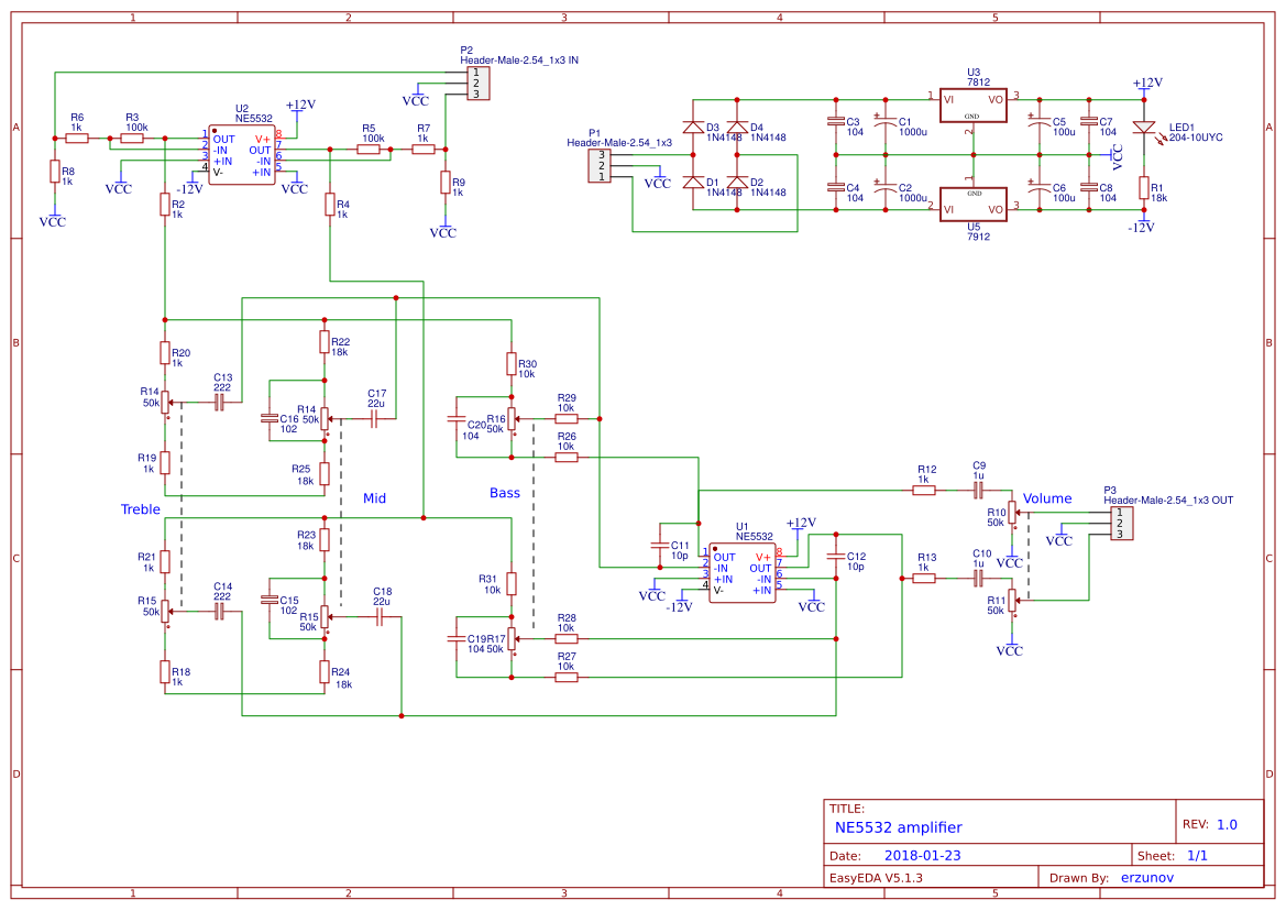 Explore Easyeda 20w Audio Amplifier Using Lm1875 Electronic Circuits And Diagram Ne5532
