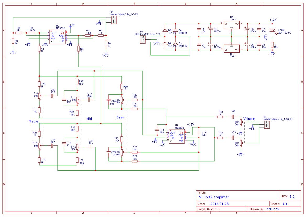 Explore Easyeda Simple Small Audio Amplifier Circuit Diagram Using Ic Lm386 Ne5532
