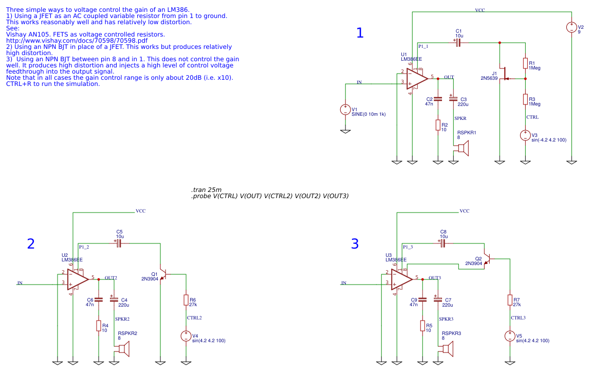 Voltage controlling the gain of an LM386