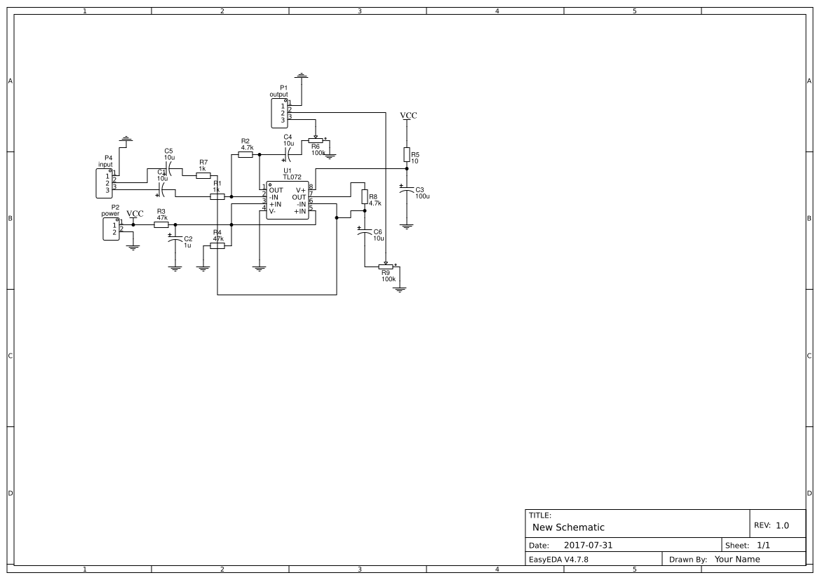 Headphone Stereo Search Easyeda Tda7294 Bridge Power Amplifier Circuit Diagram Electronic Project Preamp Tlo72 Single Supplay