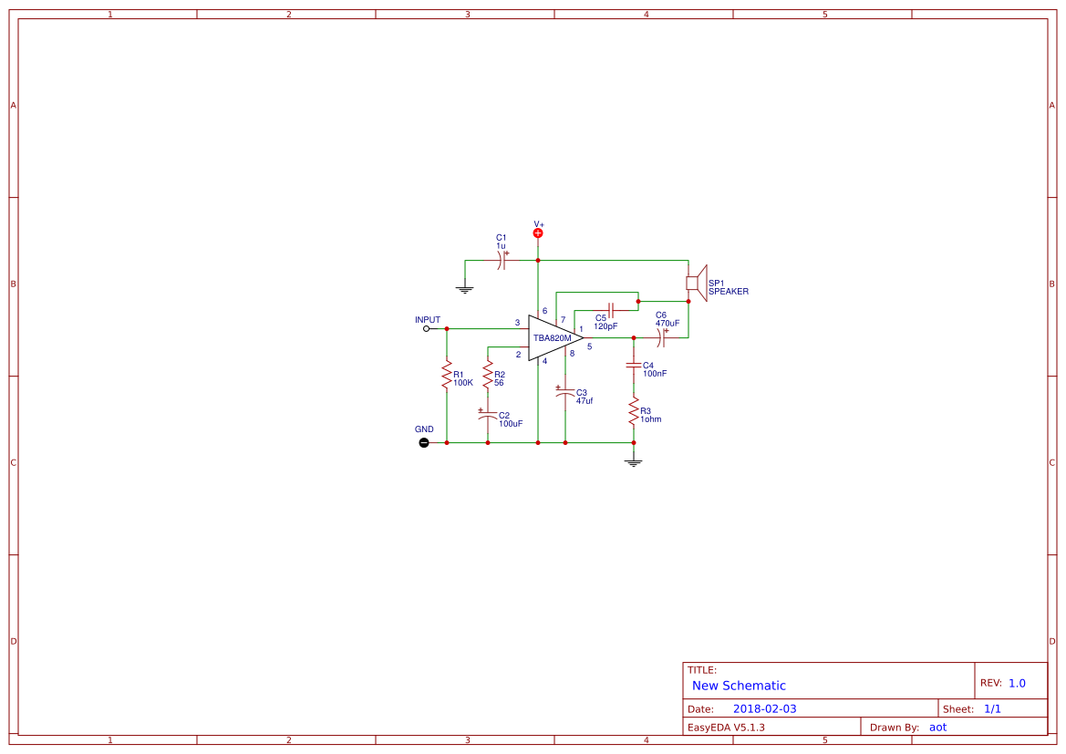 Amplifier Circuits Search Easyeda 2 Watts Stereo Using Three Lm386 Tba820m Circuit