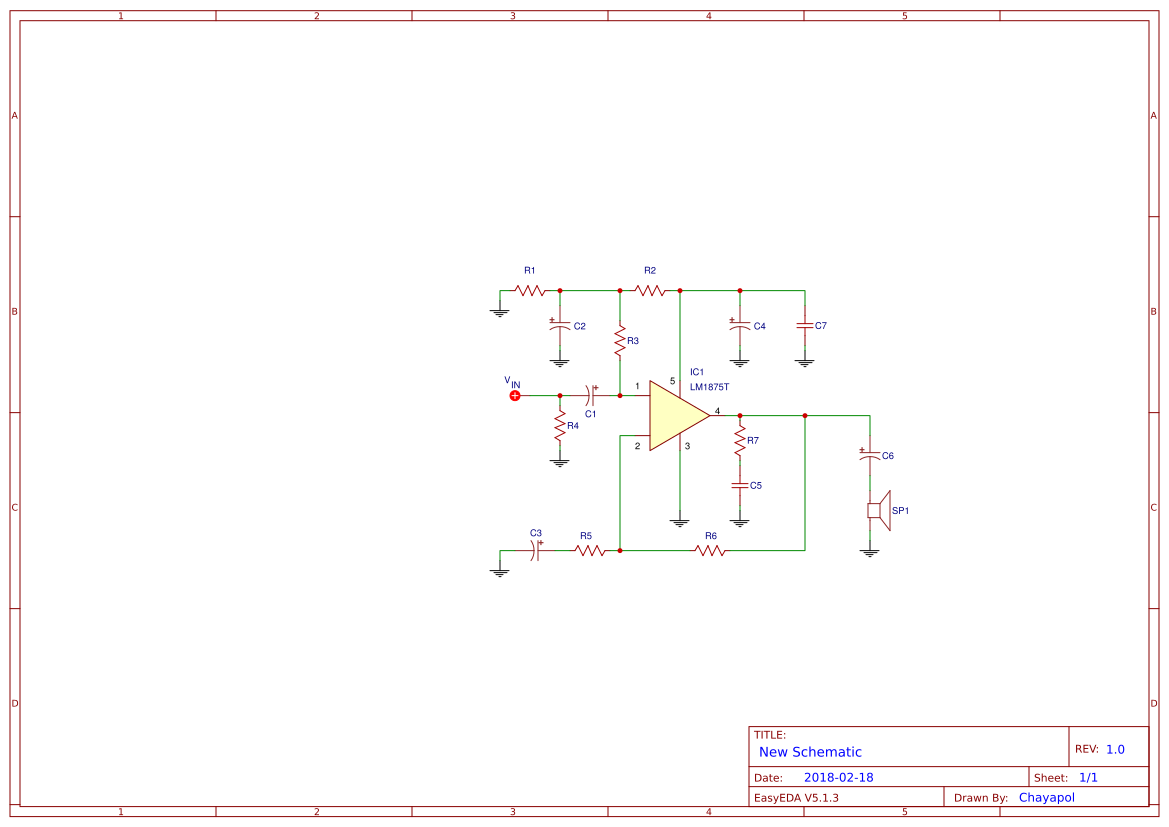 Explore Easyeda Simple Small Audio Amplifier Circuit Diagram Using Ic Lm386 Lm1875 30 Watts